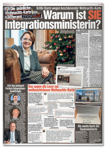 Ausriss Bild-Zeitung - Kritik-Sturm wegen beschämender Weihnachts-Karte - Warum ist sie Integrationsministerin?