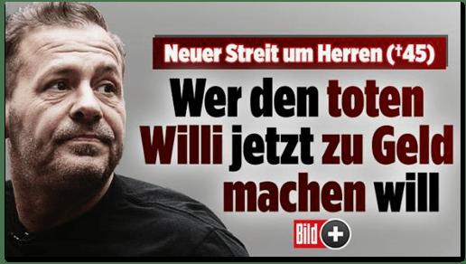 Screenshot Bild.de - Neuer Streit um Herren - Wer den toten Willi jetzt zu Geld machen will