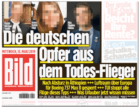 Ausriss Bild-Titelseite - Die deutschen Opfer aus dem Todesflieger