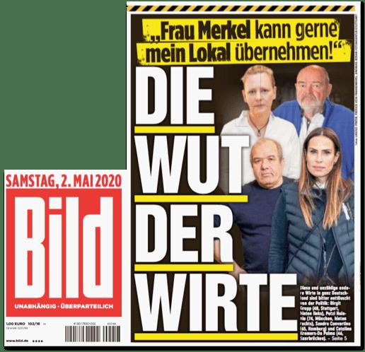 Ausriss Bild-Titelseite - Frau Merkel kann gerne mein Lokal übernehmen - Die Wut der Wirte
