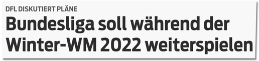 Screenshot sportbild.de - DFL diskutiert Pläne - Bundesliga soll während der Winter-WM 2022 weiterspielen