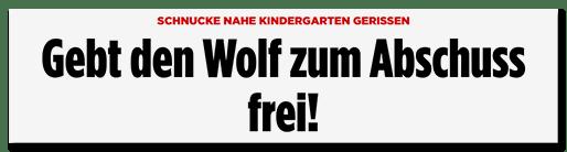 Screenshot Bild.de: Gebt den Wolf zum Abschuss frei!