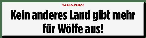 Screenshot Bild.de: Kein anderes Land gibt mehr für Wölfe aus!