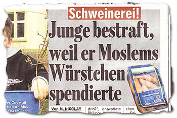 """""""Schweinerei! Junge bestraft, weil er Moslems Würstchen spendierte"""""""