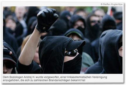 Dem Soziologen Andrej H. wurde vorgeworfen, einer linksextremistischen Vereinigung anzugehören, die sich zu zahlreichen Brandanschlägen bekannt hat