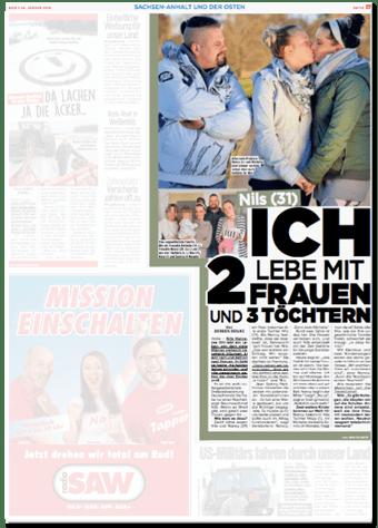 Ausriss Bild-Zeitung - Nils (31) - Ich lebe mit zwei Frauen und drei Töchtern